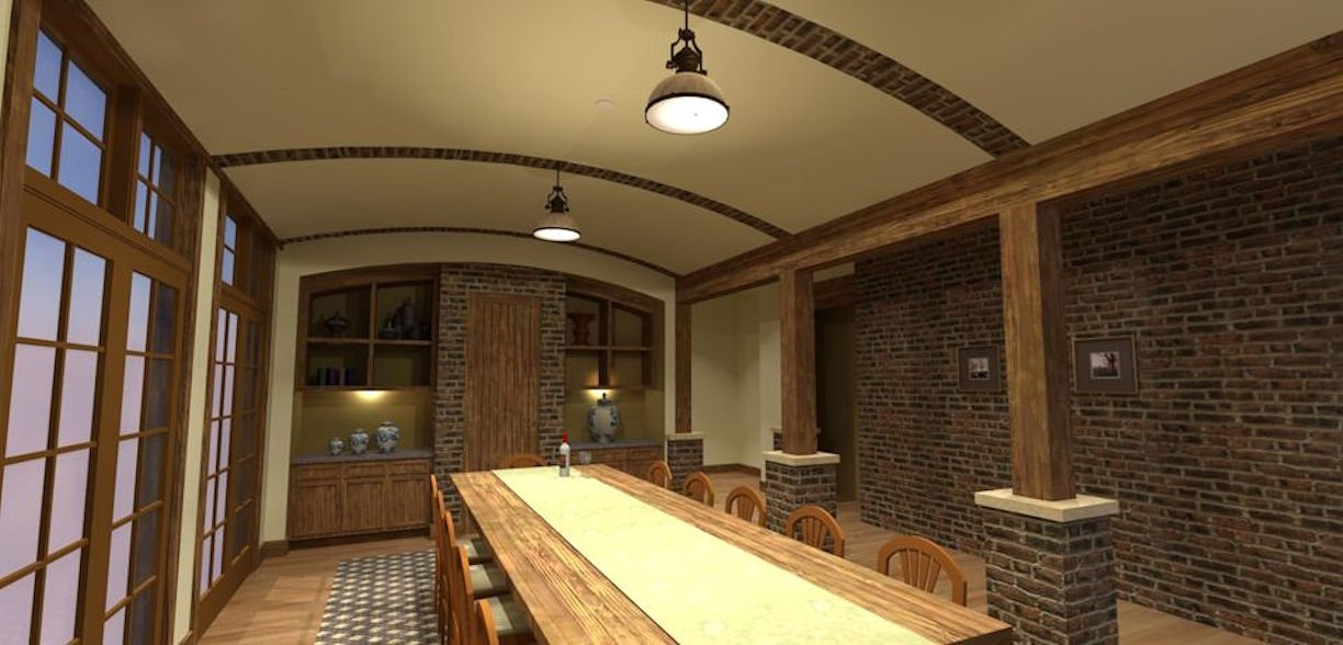 rustic dining room 3D Rendering by RDS Architects