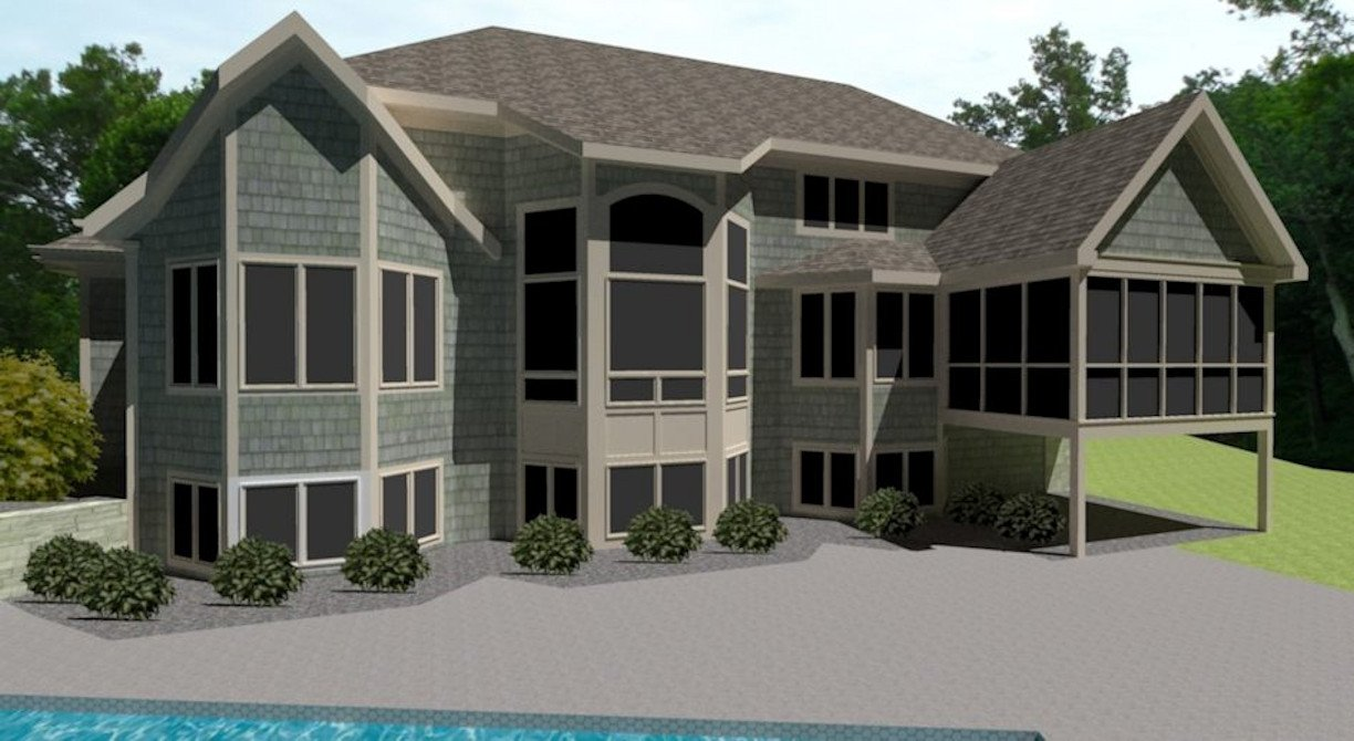 Rear exterior of Home 3D Rendering by RDS Architects