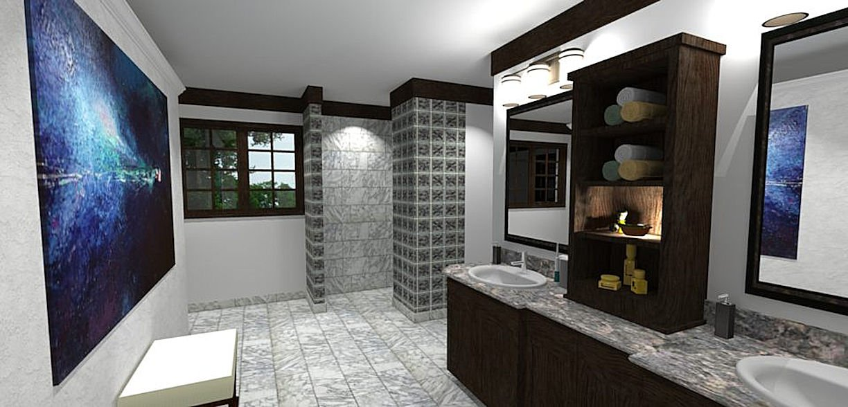 3D rendering of master bath by RDS Architects